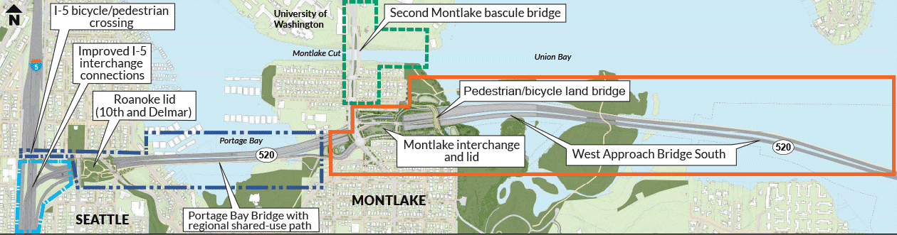 Reference map showing portions of western and eastern segments of the eastbound bridge.