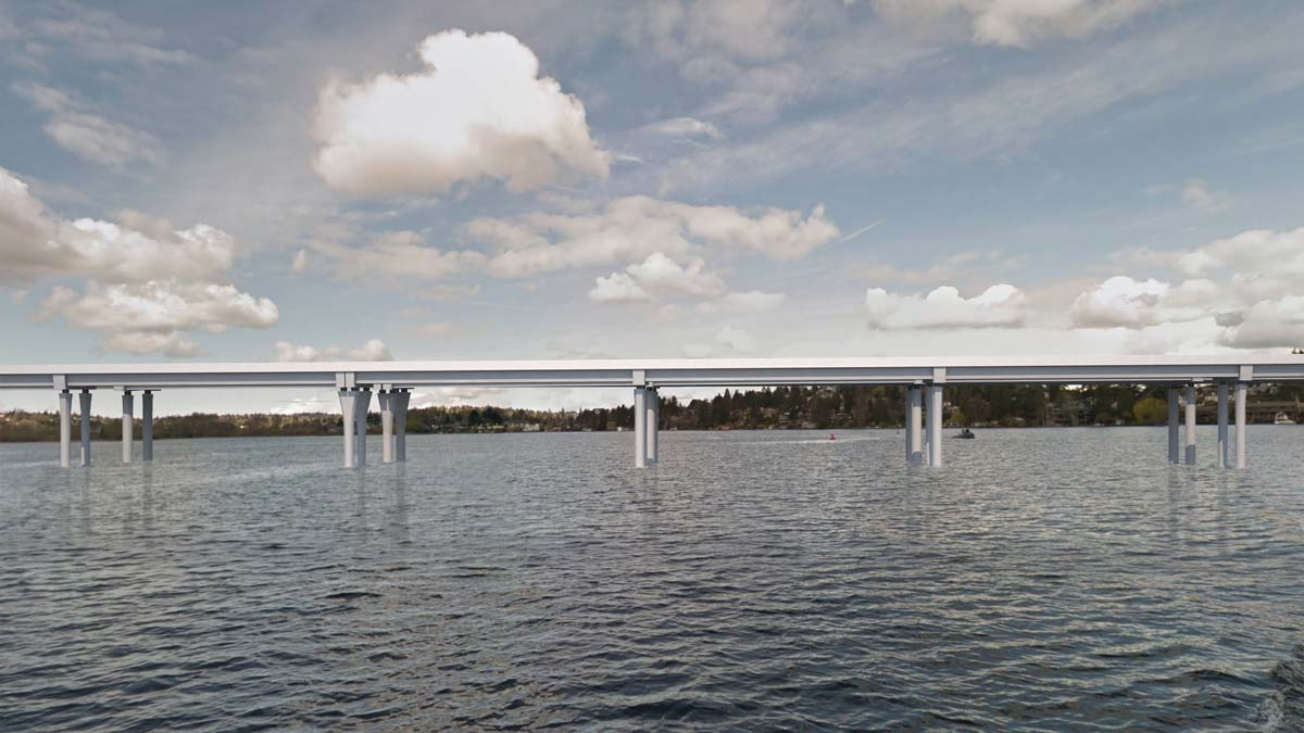 Rendering of the eastern segment of the future eastbound bridge, looking north.