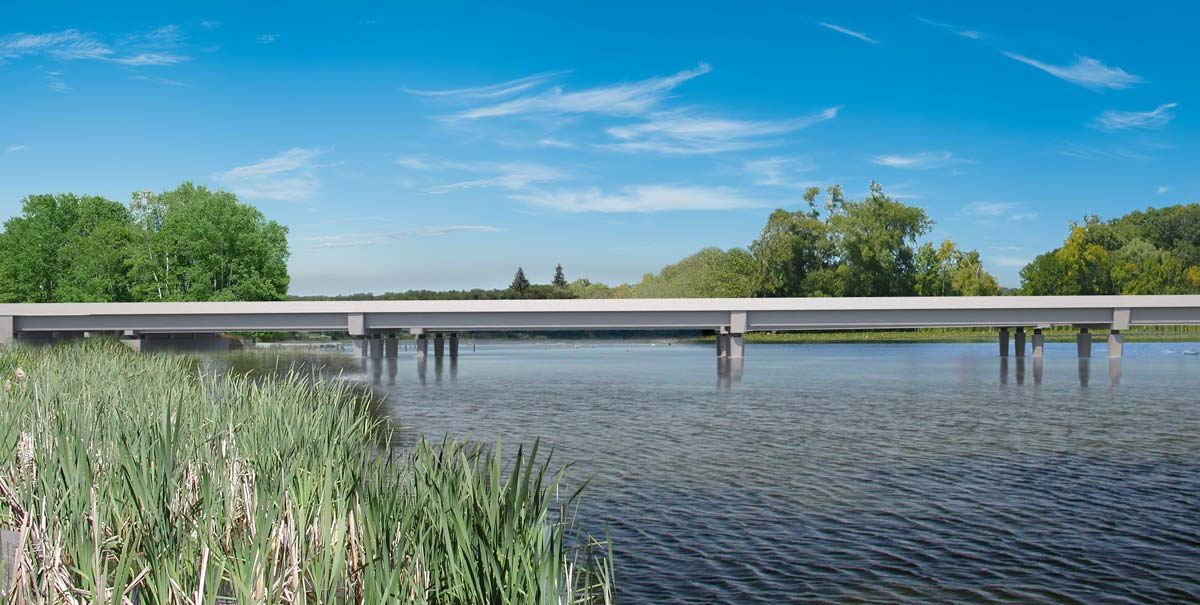 Rendering of the western segment of the future eastbound bridge, looking north.