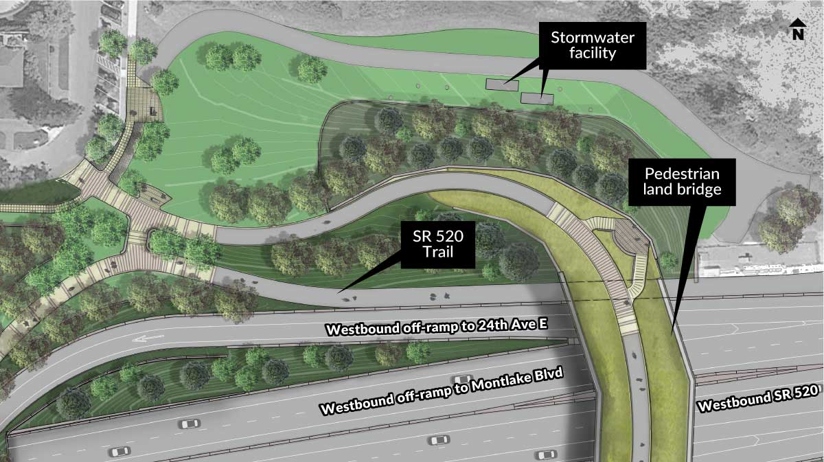 Rendering of the East Montlake Park area showing various features.
