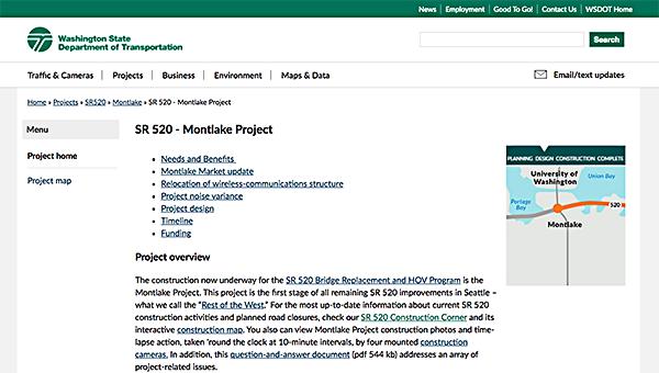 Screenshot of project website.