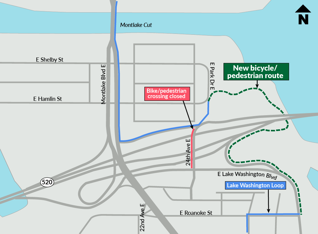 Map showing new bicycle/pedestrian detour option.