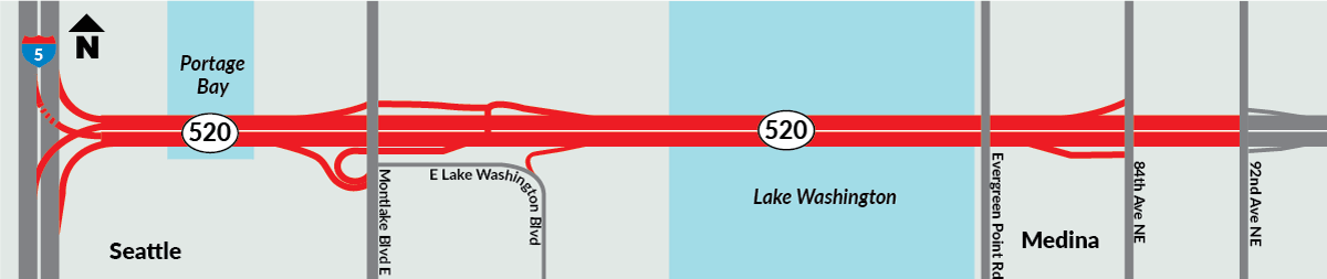 Map showing location of upcoming SR 520 closure.