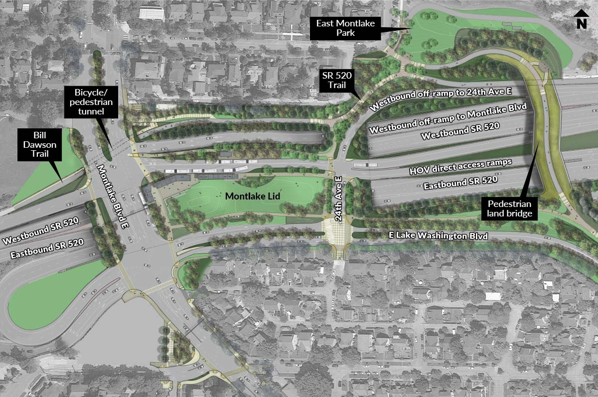 Map of the final configuration of the SR 520 Montlake Project.