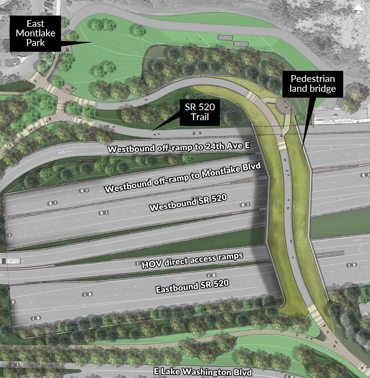 Map of the pedestrian land bridge area showing the positions of various features.