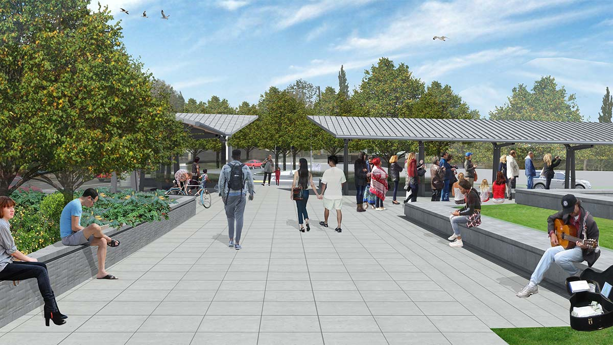 Rendering of the transit plaza, looking north.